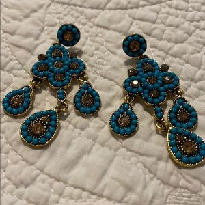 Turquoise and gold long earrings